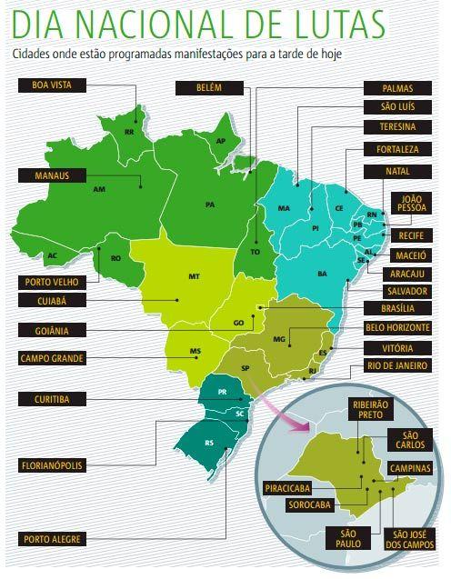 Mapa mostra onde devem acontecer protestos pelo Brasil