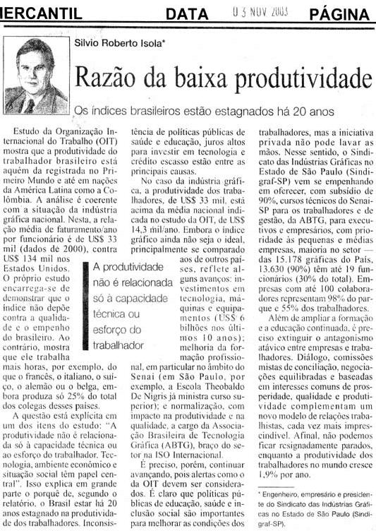 Baixa produtividade no Brasil impede a geração de riquezas e empregos dignos